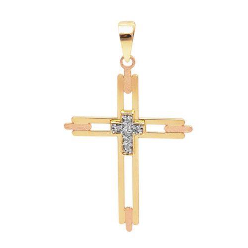 Pingente em Ouro 18k/750 Cruz com Diamante