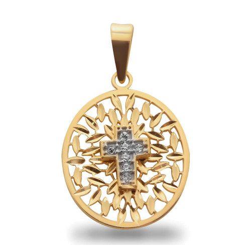 Pingente em Ouro 18k/750 Oval Bordado de Cruz com Diamante