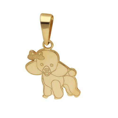 Pingente em Ouro 18k/750 Pet Poodle com Lacinho