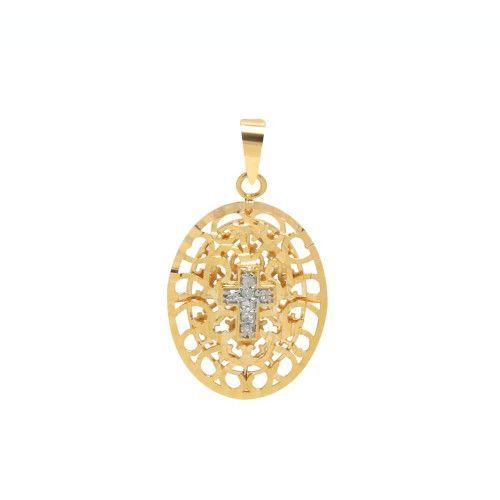 Pingente em Ouro 18k/750 Oval Bordada com Cruz de Diamantes