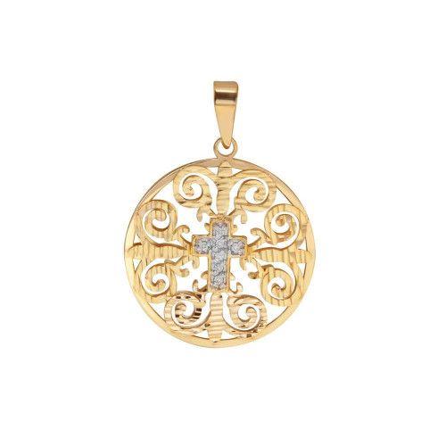 Pingente em Ouro 18k/750 Mandala com Cruz e Diamantes