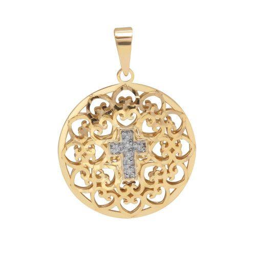 Pingente em Ouro 18k/750 Mandala Cruz de Diamante
