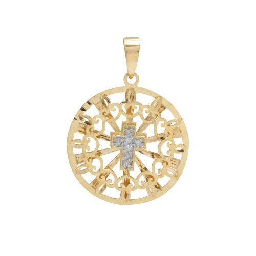 Pingente em Ouro 18k/750 Mandala Bordada Cruz com Diamantes