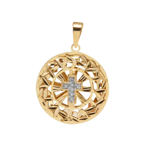 Pingente em Ouro 18k/750 Mandala com Cruz de Diamantes