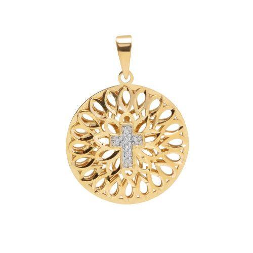 Pingente em Ouro 18k/750 Mandala Bordada com Cruz e 7 Diamantes
