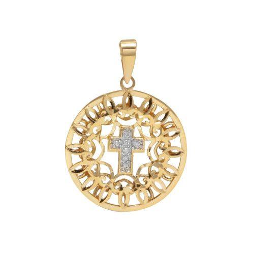 Pingente em Ouro 18k/750 Mandala Bordada com Cruz e Diamantes