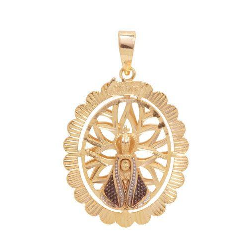 Pingente em Ouro 18k/750 Mandala Nossa Senhora Aparecida Oval 300 Anos