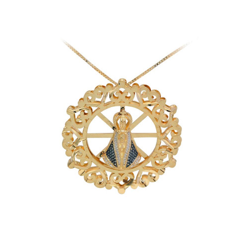 Pingente em Ouro 18k/750 Mandala Nossa Senhora Aparecida Dupla com Corrente Veneziana