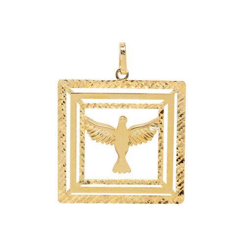 Pingente em Ouro 18k/750 Triplo Quadro Espirito Santo