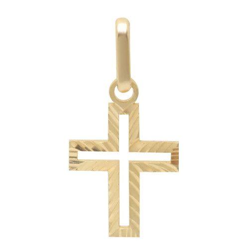 Pingente em Ouro 18k/750 Cruz Vazada Diamantada Pequena
