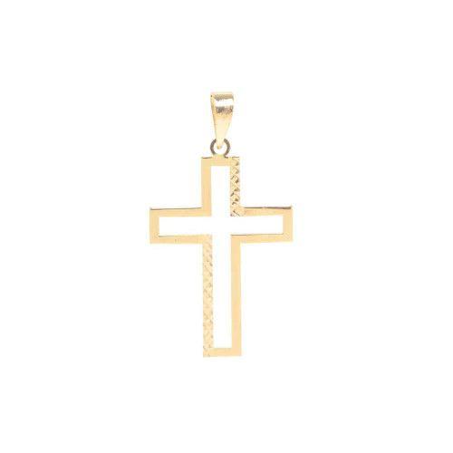 Pingente em Ouro 18k/750 Cruz Detalhe Diamantada