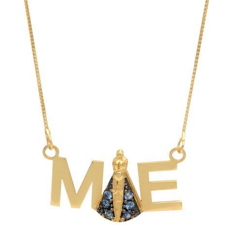 Gargantilha em Ouro 18k/750 Pingente Mãe com Nossa Senhora e Veneziana