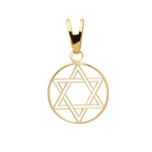Pingente em Ouro 18k/750 Estrela de Davi com Aro Vazado