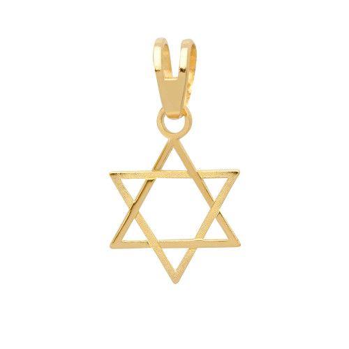 Pingente em Ouro 18k/750 Estrela de Davi com Detalhes Fosco