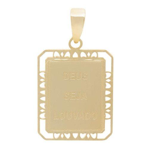 Pingente em Ouro 18k/750 Placa Deus Seja Louvado