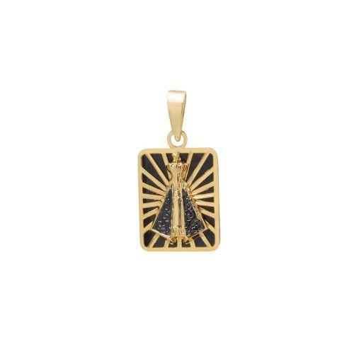 Pingente em Ouro 18k/750 Nossa Senhora Aparecida Quadrada Pequena com Resina