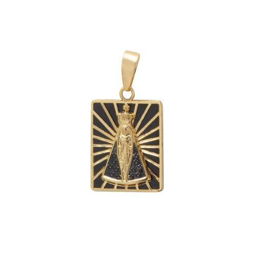Pingente em Ouro 18k/750 Nossa Senhora Aparecida Quadrada Grande com Resina