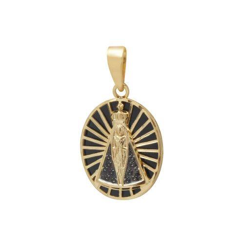 Pingente em Ouro 18k/750 Nossa Senhora Aparecida Oval Grande com Resina