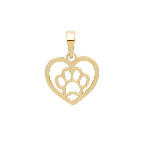 Pingente em Ouro 18k/750 Patinha com Coração Vazado