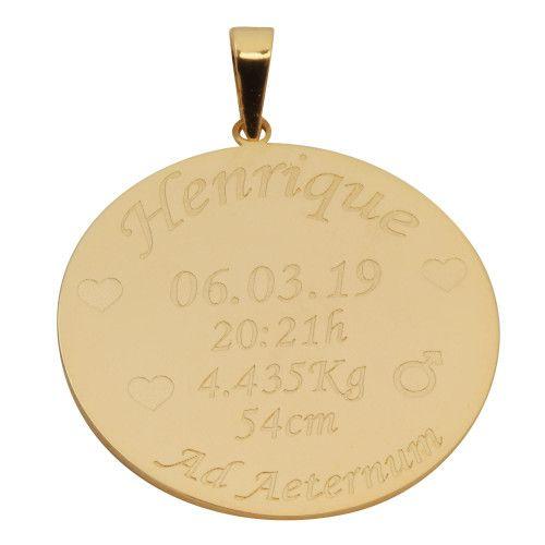 Pingente em Ouro 18k/750 Nascimento Personalizado 25mm