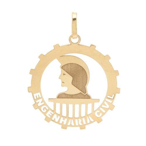 Pingente em Ouro 18k/750 Profissão Engenharia Civil