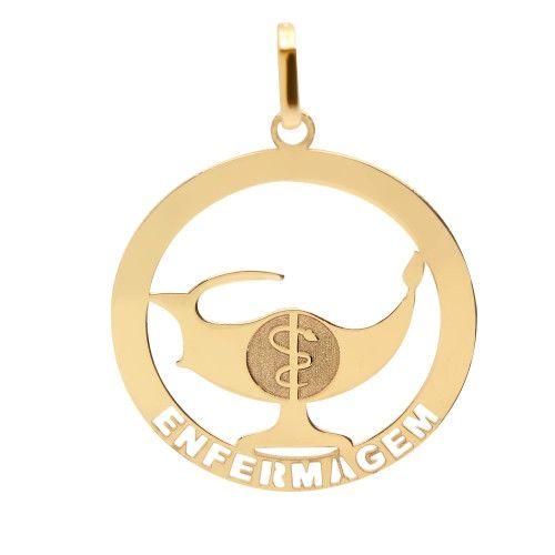 Pingente em Ouro 18k/750 Profissão Enfermagem