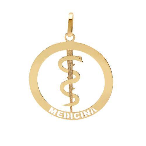 Pingente em Ouro 18k/750 Profissão Medicina Redondo