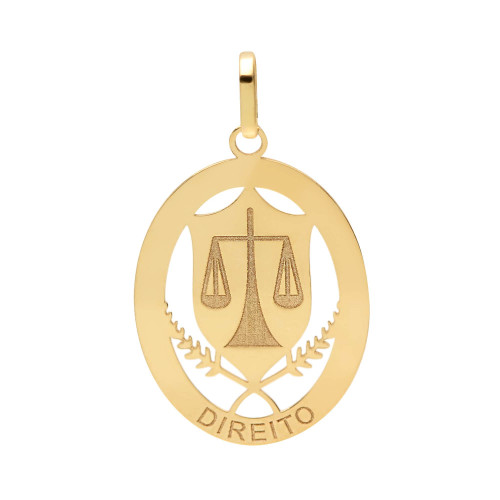 Pingente em Ouro 18k/750 Profissão Direito Oval