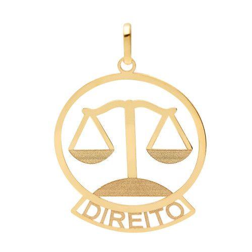 Pingente em Ouro 18k/750 Profissão Direito Redondo