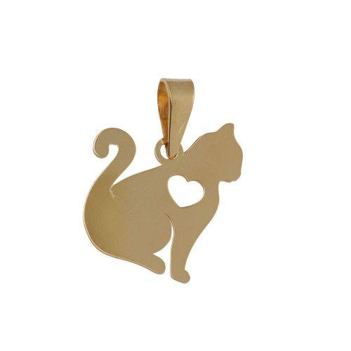 Pingente em Ouro 18k/750 Gato com Coração Vazado