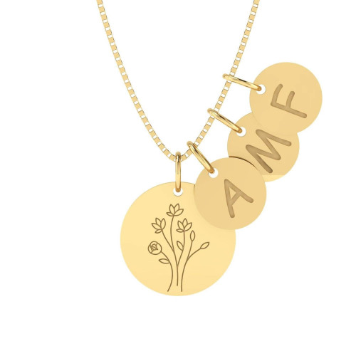 Gargantilha em Ouro 18k/750 Árvore da Vida com Três Letras