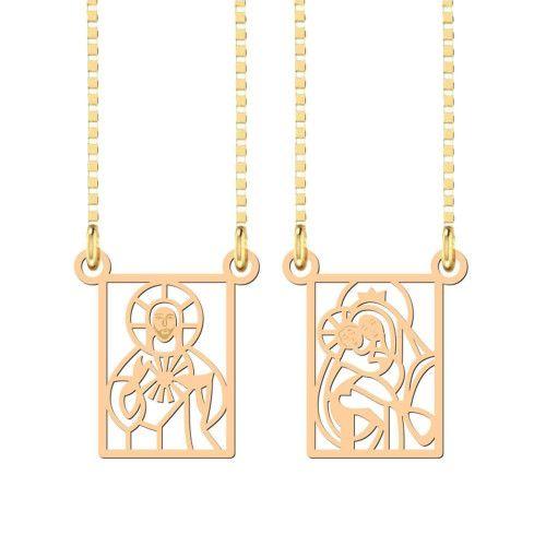 Pingente em Ouro 18k/750 Escapulário Jesus e Nossa Senhora Vazado