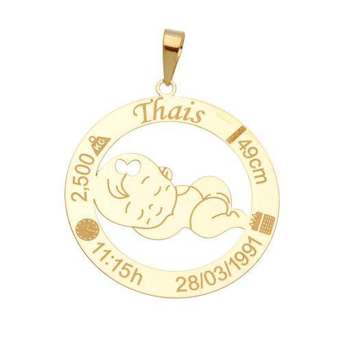 Pingente em Ouro 18k/750 Menina Nascimento Personalizado