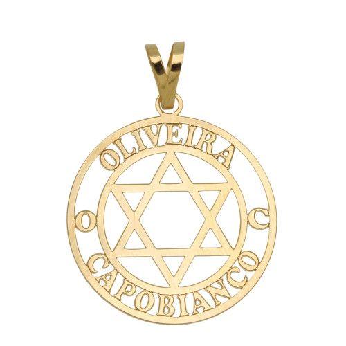 Pingente em Ouro 18k/750 Família com Estrela de Davi Personalizado Dois Nomes