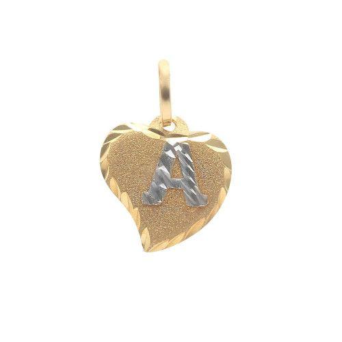 Pingente em Ouro 18k/750 Coração com Letra
