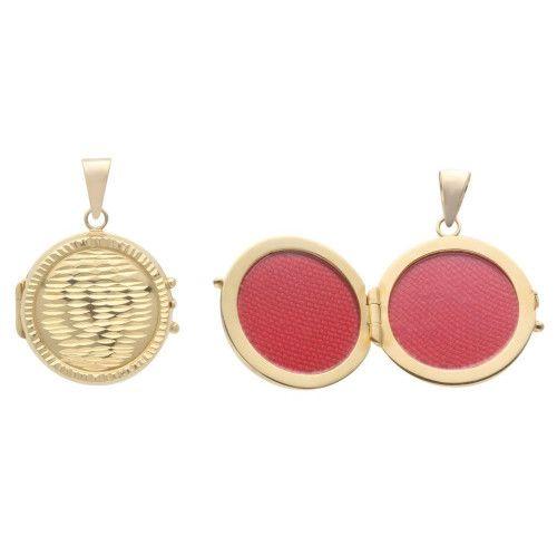 Pingente em Ouro 18k/750 Relicário Redondo Diamantado