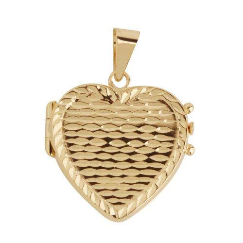 Pingente em Ouro 18k/750 Relicário Coração Diamantado