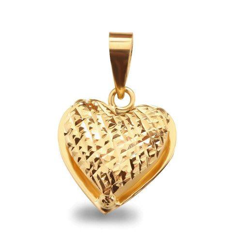 Pingente em Ouro 18k/750 Coração Galeria Diamantado