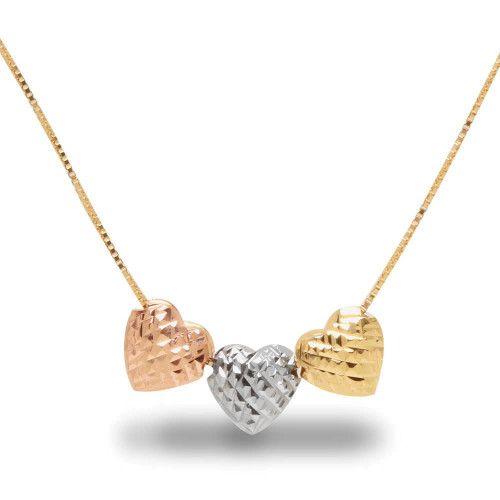 Gargantilha em Ouro 18k/750 Três Corações em Três Cores de Ouro