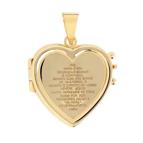 Pingente em Ouro 18k/750 Relicário Coração Gravado Ave Maria
