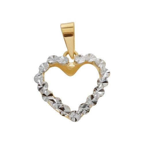 Pingente em Ouro 18k/750 Coração Coração Diamantado com Ródio