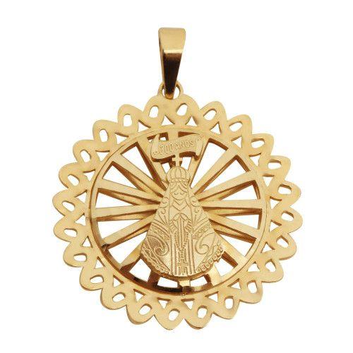 Pingente em Ouro 18k/750 Mandala Nossa Senhora Aparecida Bordada