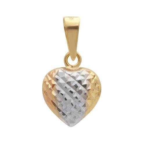 Pingente em Ouro 18k/750 Coração Tricolor Diamantado