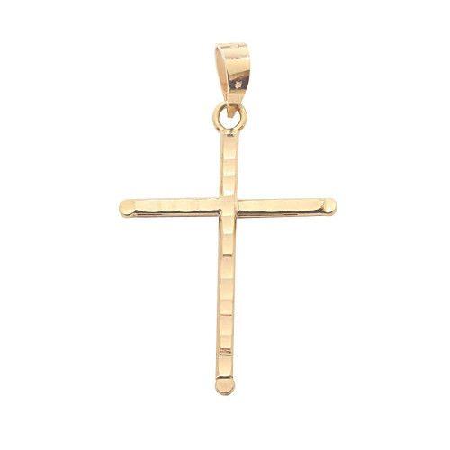 Pingente em Ouro 18k/750 Cruz 14mm x 20mm Diamantada