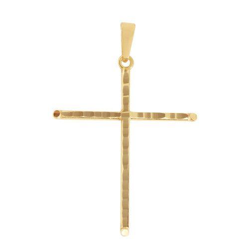 Pingente em Ouro 18k/750 Cruz 21mm x 28mm Diamantada