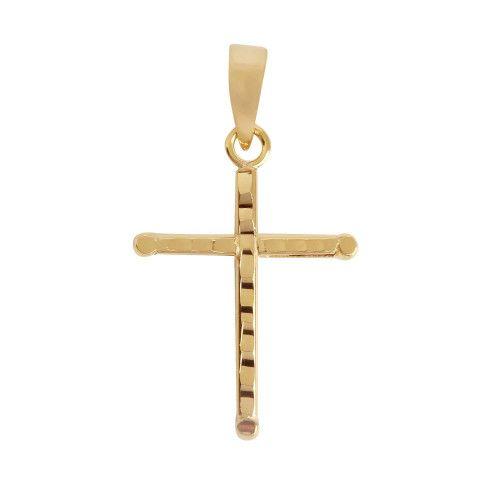 Pingente em Ouro 18k/750 Cruz 17mm x 25mm Diamantada