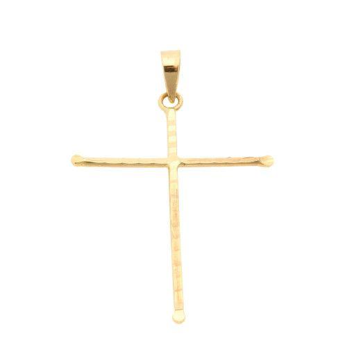 Pingente em Ouro 18k/750 Cruz 20mm x 28mm Diamantada