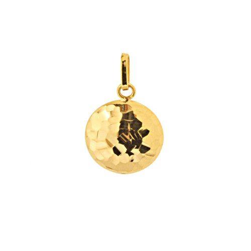 Pingente em Ouro 18k/750 Redondo Côncavo Diamantado 12mm