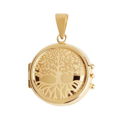 Pingente em Ouro 18k/750 Relicário Redondo Gravado Árvore da Vida