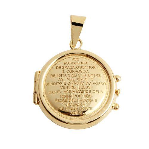Pingente em Ouro 18k/750 Relicário Redondo Gravado Ave Maria